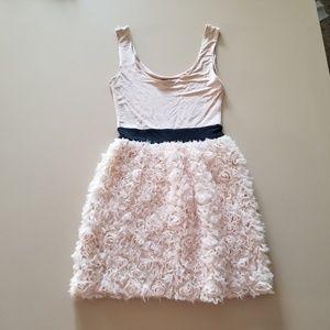 Ted Baker 4 pink blush beige dress roses stretch